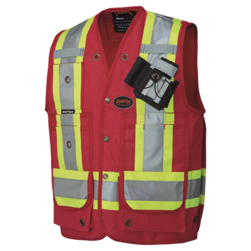 Vest Surveyor Cotn Duck Red Wrefl Sz Lrg