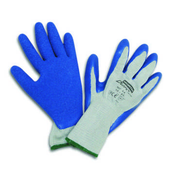 Glove Cot Poly Blue/rubber Palm