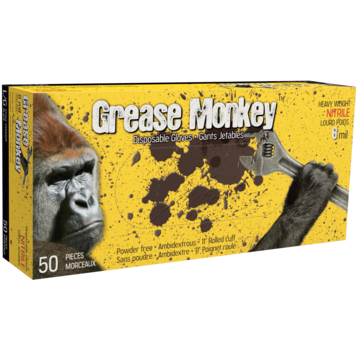 5555pf Grease Monkey® Black Nitrile Powder-free 8 Mil Gloves