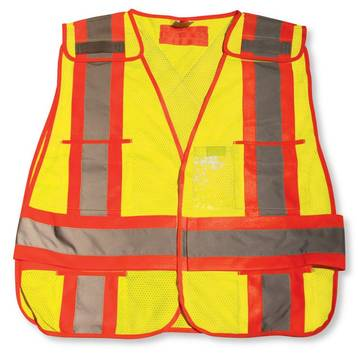 Traffic Vest Lime Green Mesh With 4 Trim, Meets Csa Z96-02 Class 2, Level 2