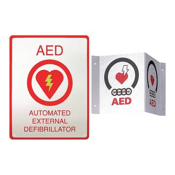Aed Wall Sign Kit, One Flush And One 3-d Wall Sign